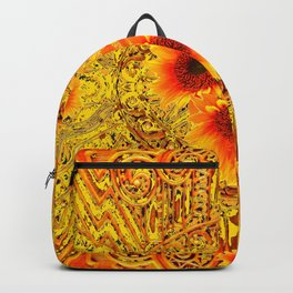 ART DECO GOLDEN SUNFLOWERS ABSTRACT Backpack