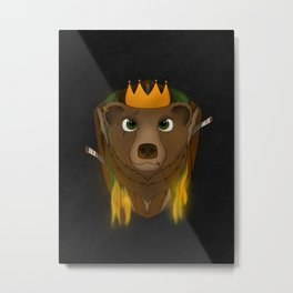 """The Warlord Bear"" Black Textured Background Metal Print"