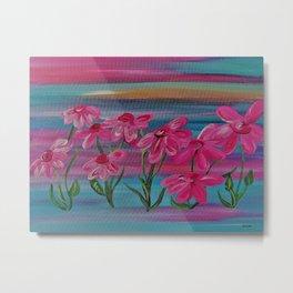Pink Gerbera Daisies on Burlap Metal Print