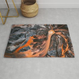 Abstract Painting - Volcano Eruption Aerial Rug