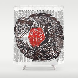 Here Be Dragons  (dragon and d20 dice on dictionary page) Shower Curtain