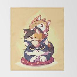 Cat Stack Doodle Throw Blanket