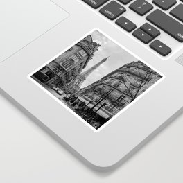 Paris streets and the Eiffel Tower Black and white Sticker