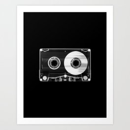 Black and White Retro 80's Cassette Vintage Eighties Technology Art Print Wall Decor from 1980's Art Print