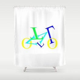 bicycle letters Shower Curtain