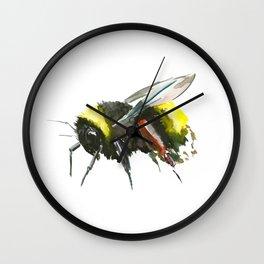 Bumblebee, minimalist bee honey making art, design black yellow Wall Clock