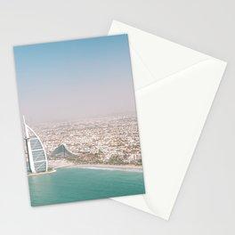 Burj Al Arab and Burj Khalifa from Dubai skies   Travel photography art print photo Stationery Cards