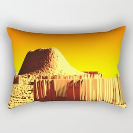 Golden mountain monument landscape nature illustration Rectangular Pillow