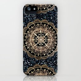 Black and White Sparkles & Rose Gold Mandala Textile iPhone Case