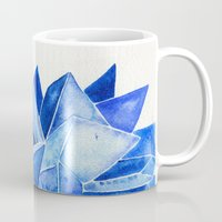 minerals Mugs featuring Sapphire Watercolor Facets by Cat Coquillette