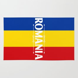 Romania Country Flag Colors and Text - red, yellow, blue Rug