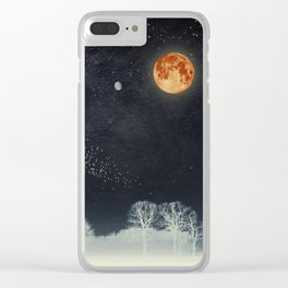 Venus and Moon Night Clear iPhone Case