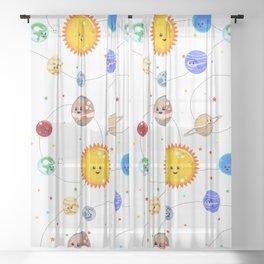 Kawaii Solar System Pattern Sheer Curtain