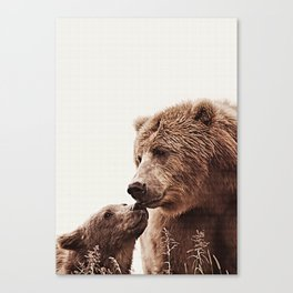 Woodlands Nursery Decor, Bear Mother Print, Baby Bear Print Canvas Print