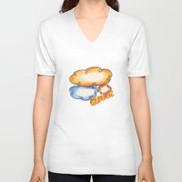 cloud V-neck T-shirts featuring Cloud by kartalpaf