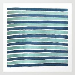Aqua Teal Stripe Art Print