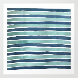 Aqua Teal Stripe Art Print