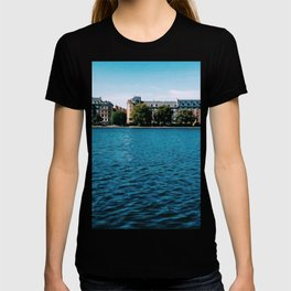 Painting of Danish Buildings along the Copenhagen Lakes, on a Clear and Sunny Summer's Day T-shirt