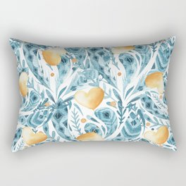 Hand painted blue yellow watercolor bohemian feathers hearts Rectangular Pillow