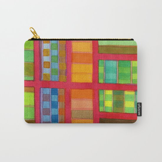 Red Grid with Checks Pattern and vertical Stripes Carry-All Pouch