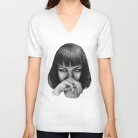 mia wallace V-neck T-shirts featuring Mia Wallace by Rebecca Hådell