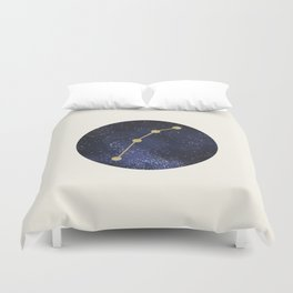 Golden Aries Zodiac Sign Constellation Galaxy Art Duvet Cover