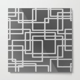 Retro Modern Blanched Slate Rectangles On Storm Grey Metal Print