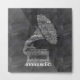 Gramophone on chalkboard Metal Print
