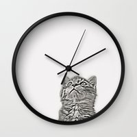 kitten Wall Clocks featuring Kitten by Vicky Lewis