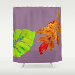 Autumn Leaves in orange, brown, yellow, green on light purple mauve Shower Curtain