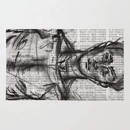 Wanderlust - Charcoal on Newspaper Figure Drawing Rug