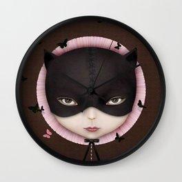 the girl's face Cat Wall Clock