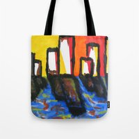 depression Tote Bags featuring Depression Begins by Greg Mason Burns