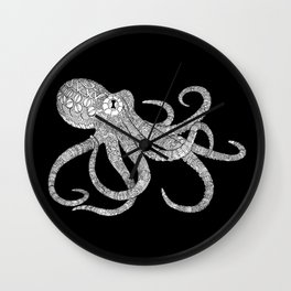 Mechanical Octopus (b&w version) Wall Clock