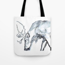 Watercolor Reindeer Sketch Tote Bag