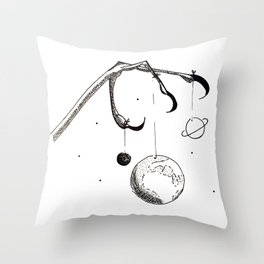 Queen of the Planets - Black Ink Throw Pillow