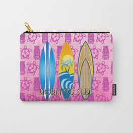 Born To Surf Pink Tikis Carry-All Pouch