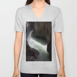 Roaring Box Canyon Falls, in a 200-foot Crevasse Unisex V-Neck