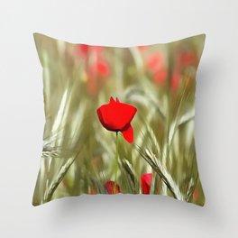 Hot Poppy Throw Pillow