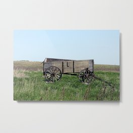 Abandoned Grain Wagon in a Field Metal Print