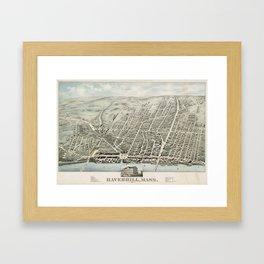 Vintage Pictorial Map of Haverhill MA (1876) Framed Art Print