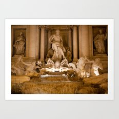 Trevi Fountain At Night Art Print