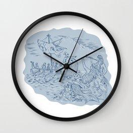 Greek Trireme Navigator Pointing Avoiding Sirens Drawing Wall Clock
