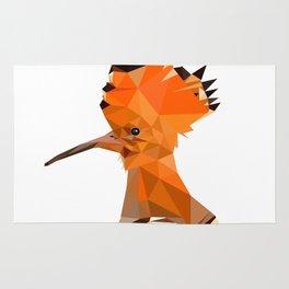 Bird artwork hoopoe geometric, Orange and brown Rug