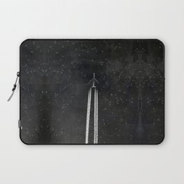 Star Flight - Airplane crossing a starry sky Laptop Sleeve