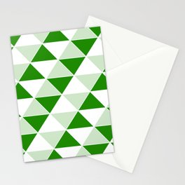 Abstract Triangles pattern - green and white. Stationery Cards