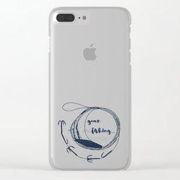 Gone fishing- illustration on marine blue Clear iPhone Case