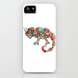 Steampunk Chameleon Watercolour Painting iPhone Case