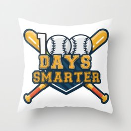 100th Day Of School Baseball Sport Funny Throw Pillow