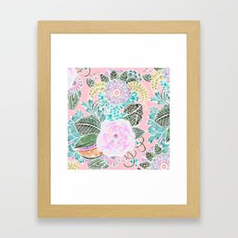 Blush pink lavender green white watercolor hand painted flowers Framed Art Print